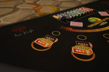 Ace High Caribbean stud poker table rentals